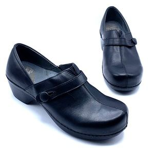 Dansko Solstice Black Leather Slip on Clog